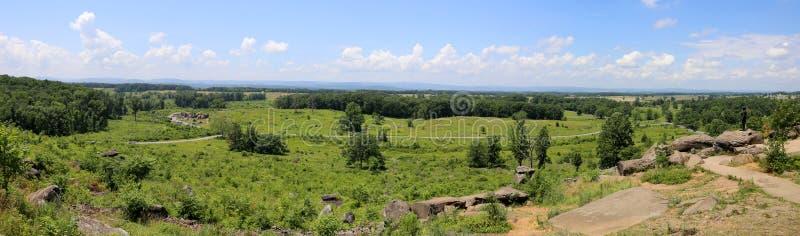 Panorama de campos de batalha de gettysburg fotografia de stock