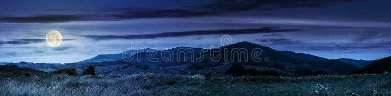 Panorama de campos rurais nas montanhas na noite imagens de stock royalty free