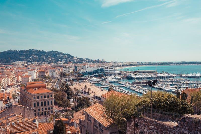 Panorama de Cannes, Cote d'Azur, Francia, Europa del sur Ciudad agradable y centro tur?stico de lujo de riviera francesa Destino  fotografía de archivo libre de regalías