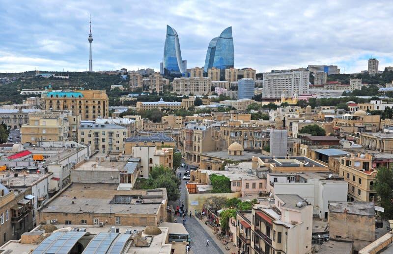 Panorama de centre de la ville de Bakou photo libre de droits