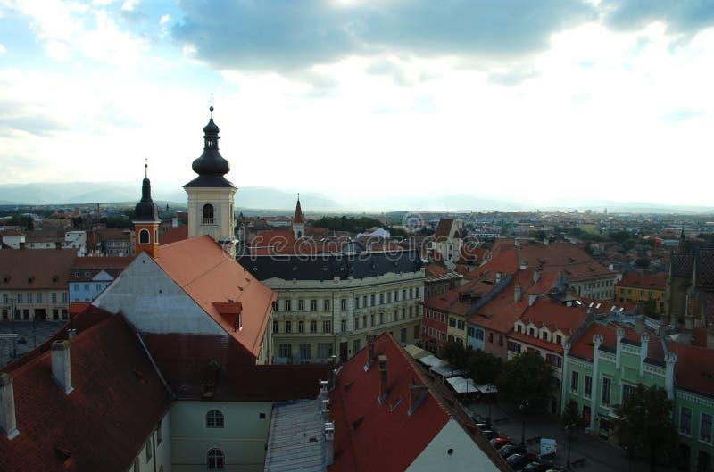 Panorama de centre de la ville de Sibiu image stock