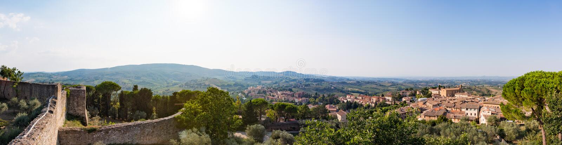 Panorama de Certaldo, Italie image libre de droits
