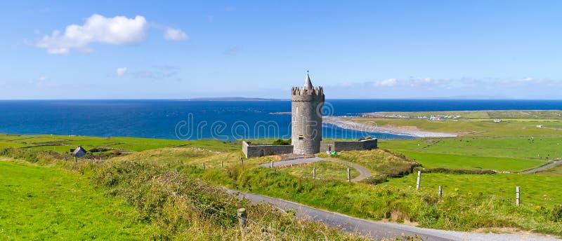 Panorama De Château De Doonagore Dans Doolin Photo stock