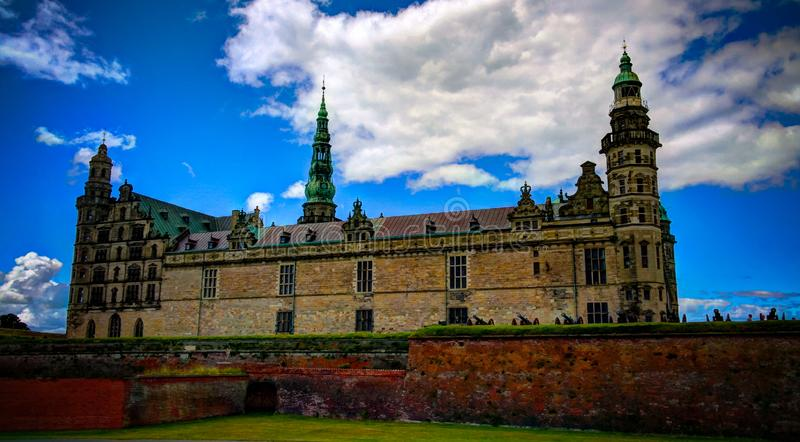 Panorama de château de Kronborg à Elseneur, Danemark images libres de droits