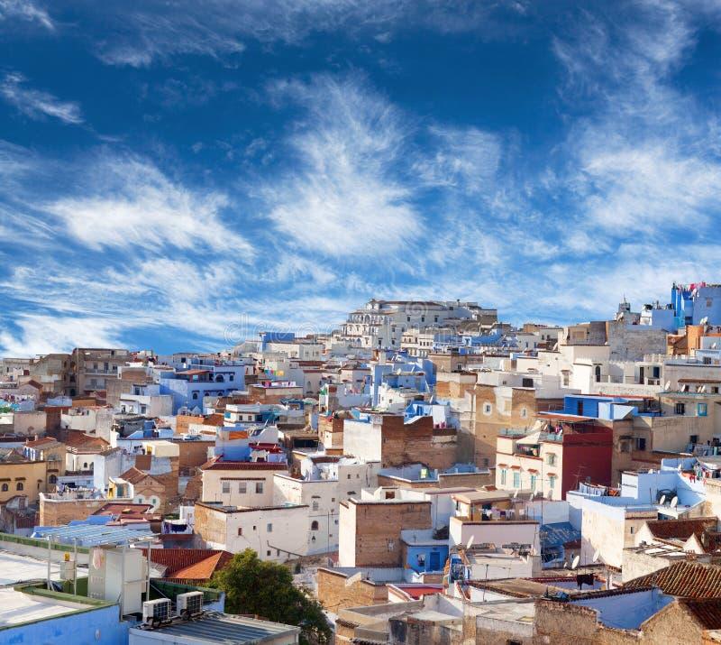 Panorama de Chefchaouen Medina em Marrocos, África fotografia de stock royalty free