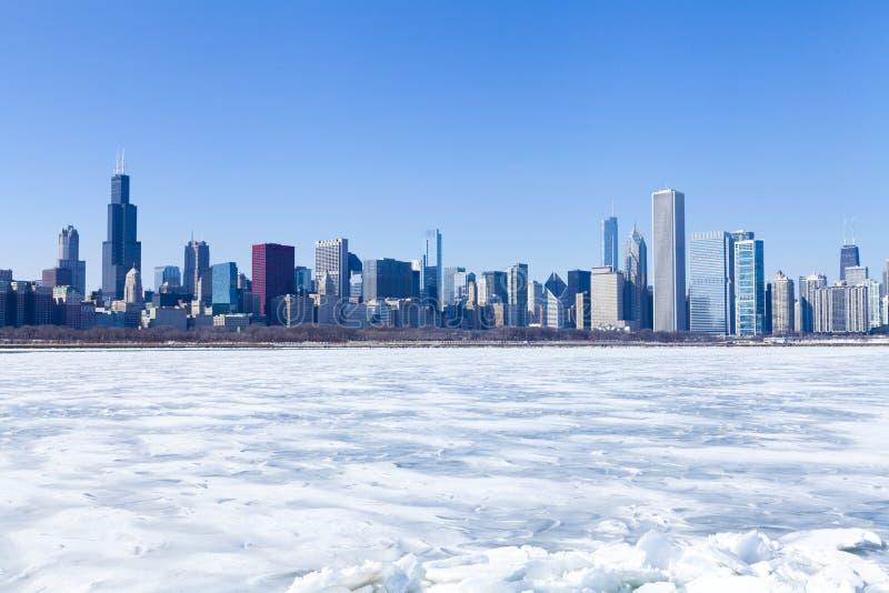 Panorama de Chicago no inverno foto de stock