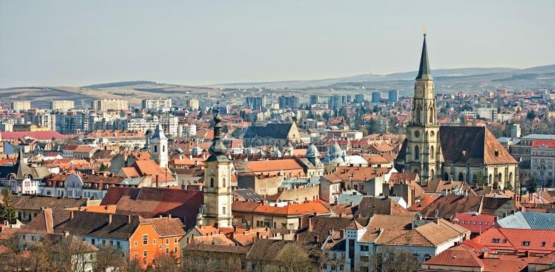 Panorama de Cluj-Napoca foto de archivo libre de regalías