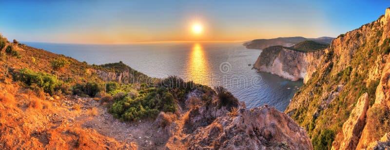 Panorama de coucher du soleil de Keri de cap photographie stock libre de droits
