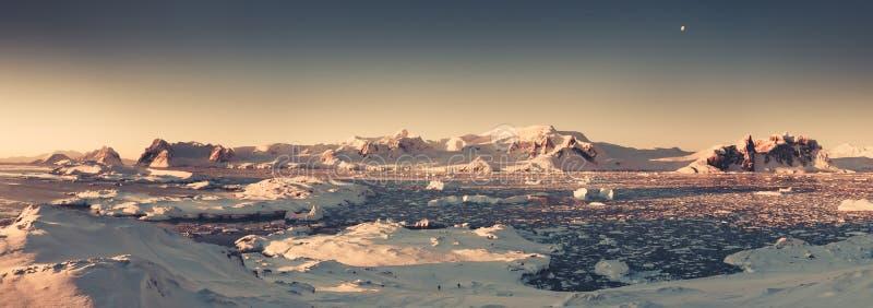 Panorama de coucher du soleil de l'Antarctique Ton de sépia photographie stock