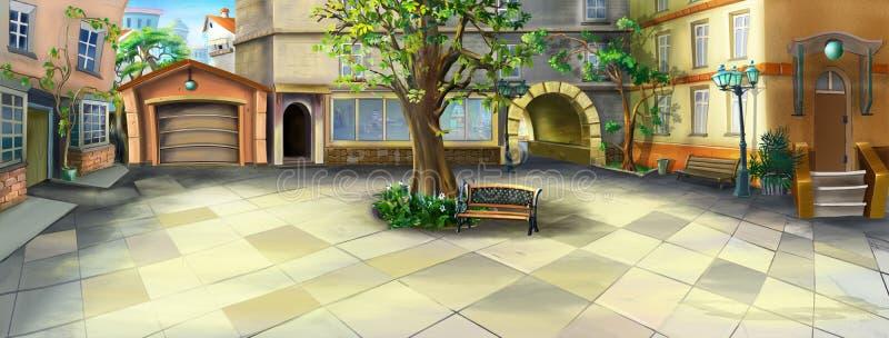 Panorama de cour illustration stock