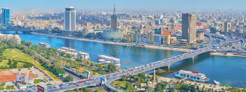 Panorama de district des affaires du Caire, Egypte photographie stock