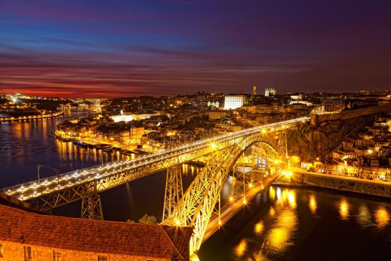 Panorama de dom famosos encendidos Luis de Ponte del puente foto de archivo