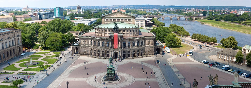 Panorama de Dresde, théatre de l'$opéra de Semper, photos libres de droits