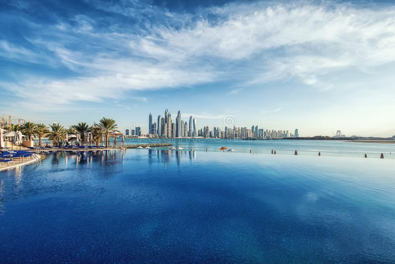 Panorama de Dubaï Marina Skyline, Emirats Arabes Unis images stock