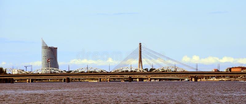 Panorama de dvina occidentale de Riga image stock