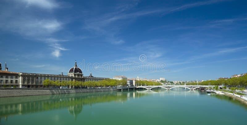 Panorama de fleuve de Lyon le Rhône photo libre de droits