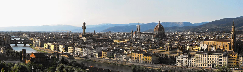 Panorama de Florença com os marcos principais do renascimento imagem de stock royalty free