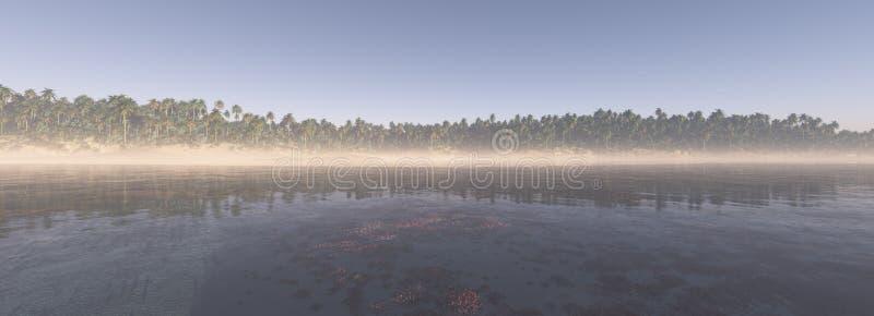 Panorama de fond tropical d'île illustration libre de droits