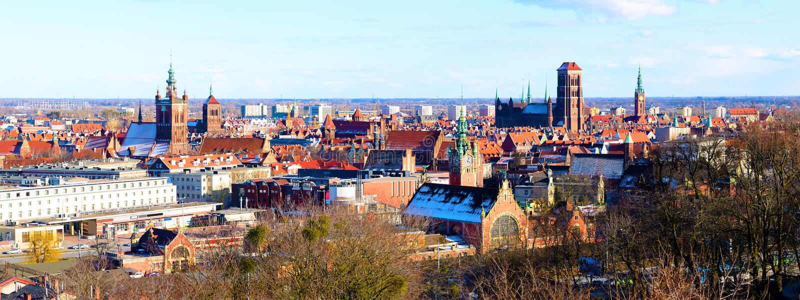 Panorama de Gdansk fotos de stock royalty free