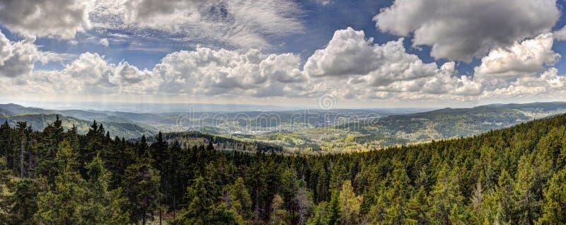Panorama de HDR com montanhas da floresta e o céu nebuloso fotos de stock royalty free