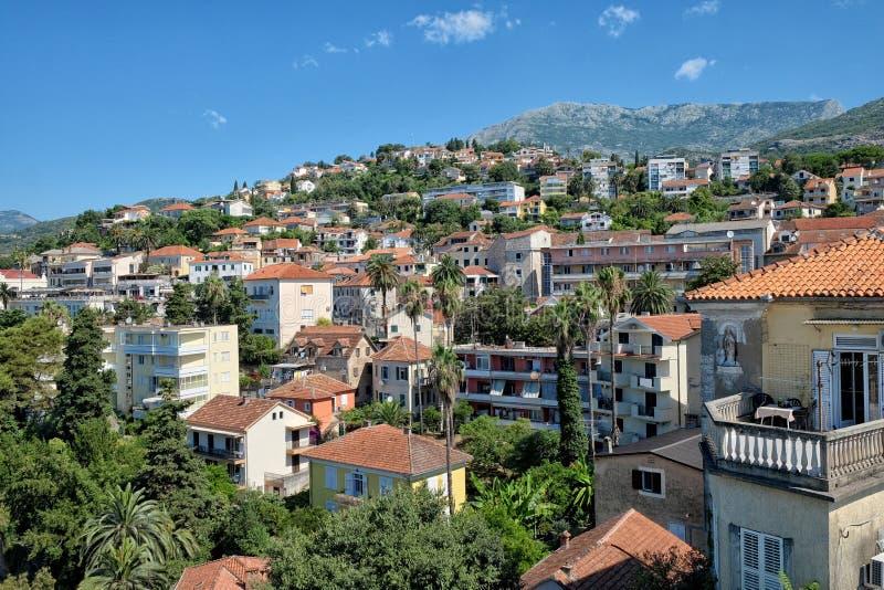 Panorama de Herceg Novi, Montenegro imagem de stock