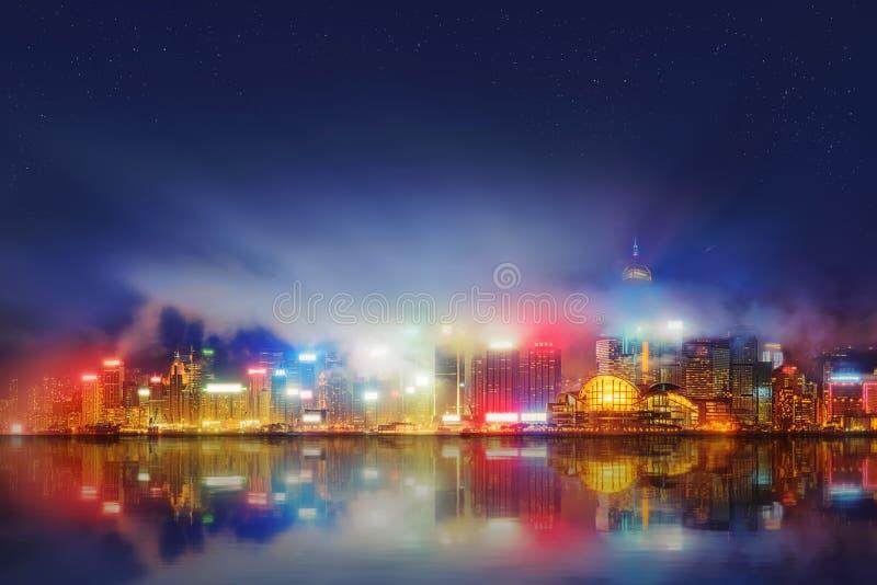 Panorama de Hong Kong e do distrito financeiro imagens de stock