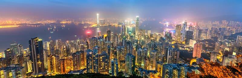 Panorama de Hong Kong Island por la tarde, China fotografía de archivo
