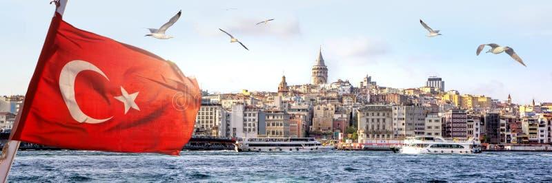 Panorama de Istambul com a torre de Galata na skyline e de gaivotas sobre o mar, paisagem larga do chifre dourado com a bandeira  imagem de stock