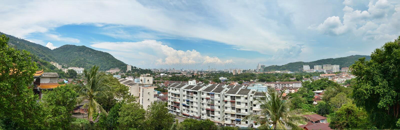 Panorama de Itam del aire, Penang, Malasia foto de archivo
