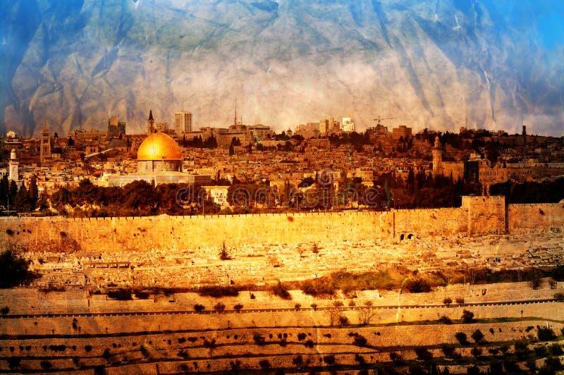 Panorama de Jérusalem de vintage photo libre de droits