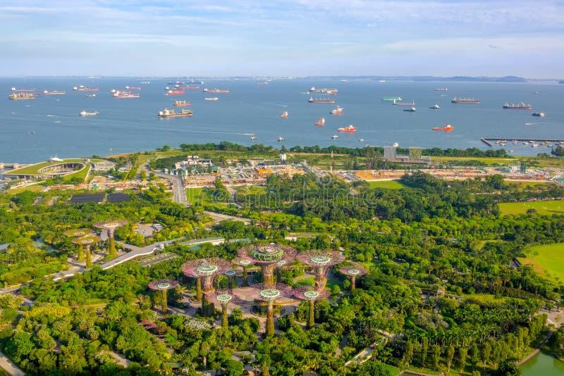 Panorama de jardines por la incursión de la bahía y de la nave en Singapur Silueta del hombre de negocios Cowering fotos de archivo libres de regalías