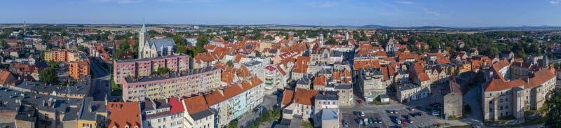 Panorama de Jawor, cidade velha, vista aérea, Polônia, 08 2017, vista aérea imagens de stock royalty free