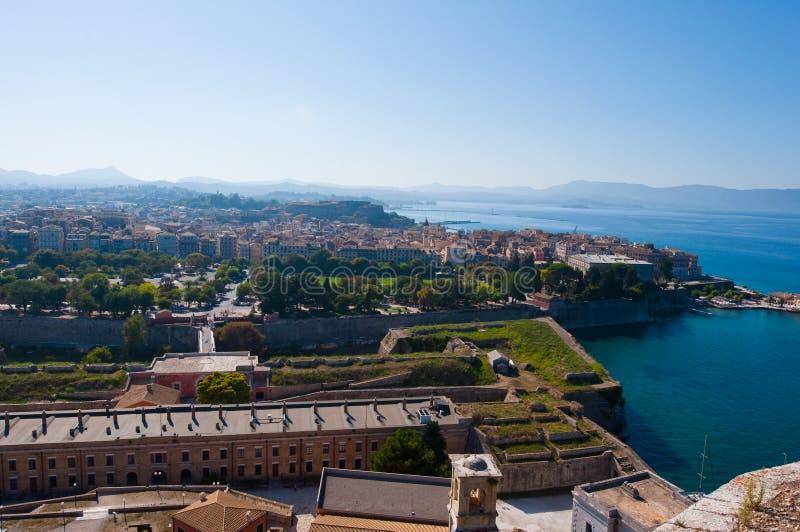 Panorama de Kerkyra de la vieille forteresse Île de Corfou en Grèce images stock