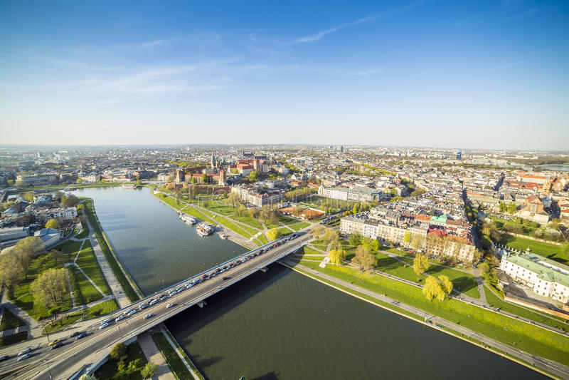 Panorama de Krakow bonito, Europa fotografia de stock royalty free
