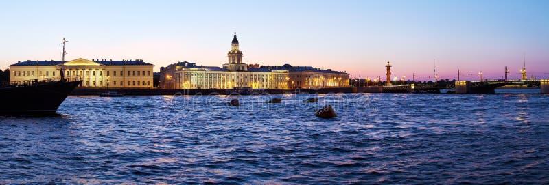 Panorama de Kunstkamera y de Neva, St Petersburg fotografía de archivo