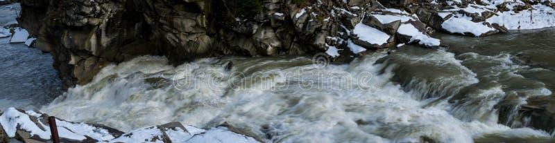 Panorama de l'écoulement rapide de l'eau photographie stock libre de droits