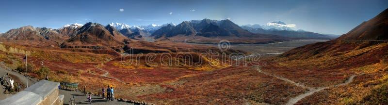 Panorama de l'Alaska Mt McKinley en automne photographie stock libre de droits