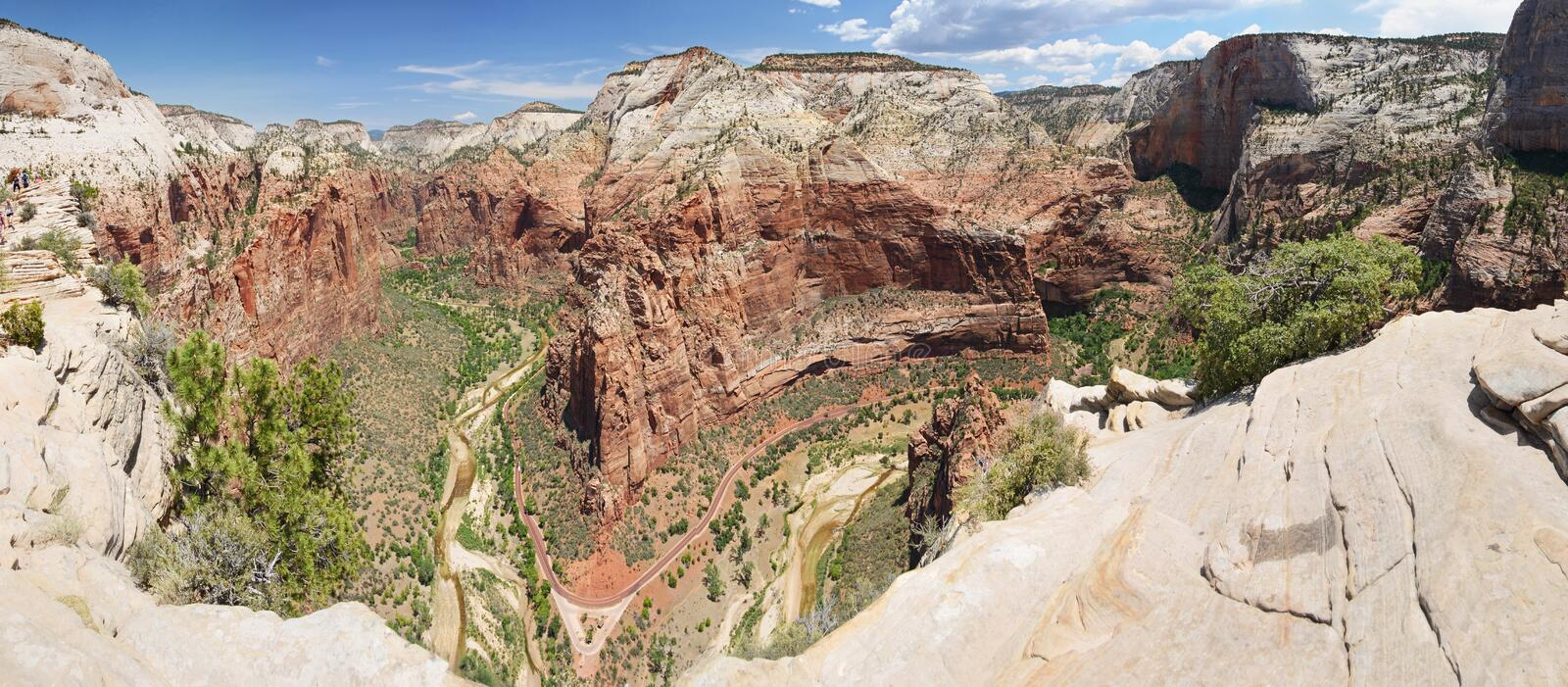 Panorama de l'atterrissage de l'ange, Zion National Park photo stock