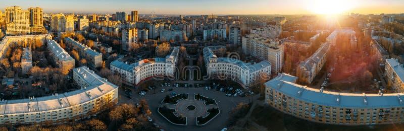 Panorama de l'ensemble architectural historique de Voronej, vue aérienne photographie stock libre de droits