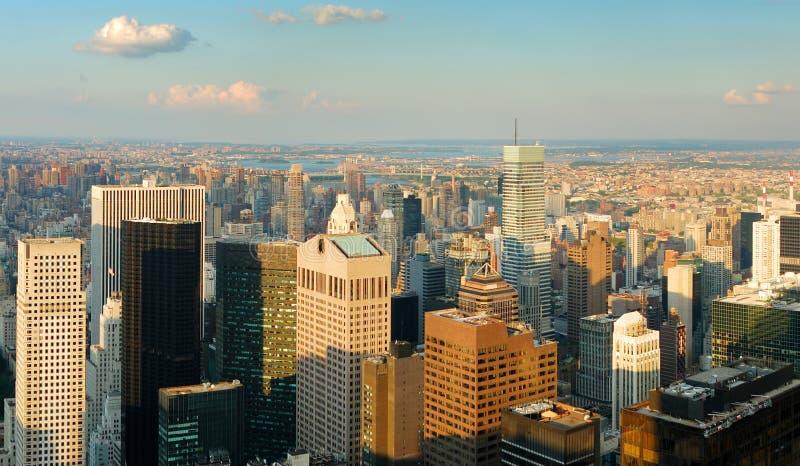 Panorama de la antena del horizonte de New York City fotografía de archivo libre de regalías