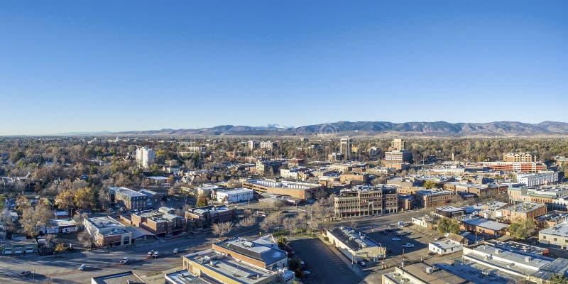 Panorama de la antena del paisaje urbano de Fort Collins foto de archivo libre de regalías