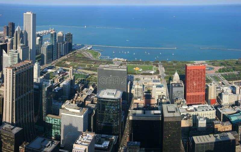 Panorama de la antena del parque del milenio de Chicago imágenes de archivo libres de regalías