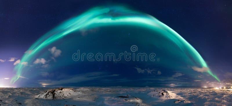 Panorama de la aurora boreal foto de archivo libre de regalías