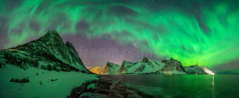 Panorama de la aurora de Kliptinden imágenes de archivo libres de regalías