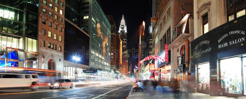 Panorama de la calle de New York City Manhattan 42.a foto de archivo