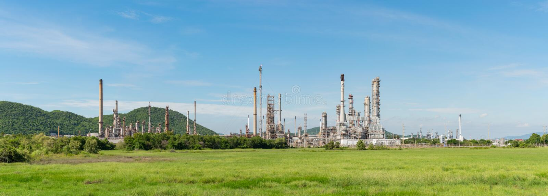 Panorama de la central eléctrica de la industria petroquímica en Tailandia fotografía de archivo libre de regalías