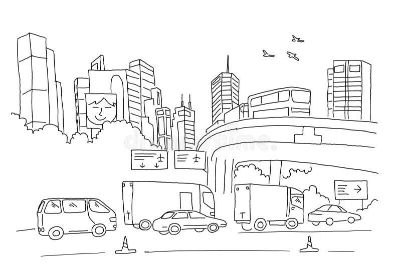 Panorama de la ciudad con el camino, el transporte y rascacielos Bosquejo, dibujando a mano Línea negra dibujada mano ejemplo del libre illustration