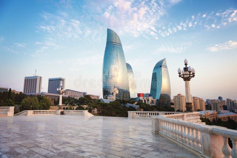 Panorama de la ciudad de Baku, Azerbaijan foto de archivo