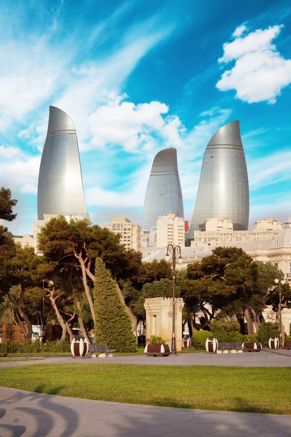 Panorama de la ciudad de Baku, Azerbaijan fotografía de archivo
