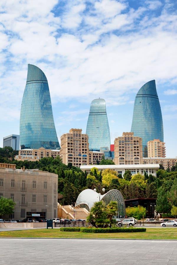 Panorama de la ciudad de Baku, Azerbaijan fotografía de archivo libre de regalías